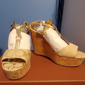 Coach Linden metallic ivory wedge